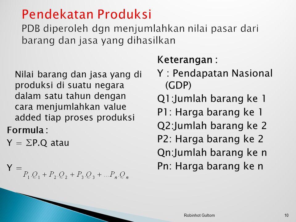 Nilai barang dan jasa yang di produksi di suatu negara dalam satu tahun dengan cara menjumlahkan value added tiap proses produksi Formula : Y = ∑P.Q atau Y = Keterangan : Y : Pendapatan Nasional (GDP) Q1:Jumlah barang ke 1 P1: Harga barang ke 1 Q2:Jumlah barang ke 2 P2: Harga barang ke 2 Qn:Jumlah barang ke n Pn: Harga barang ke n 10