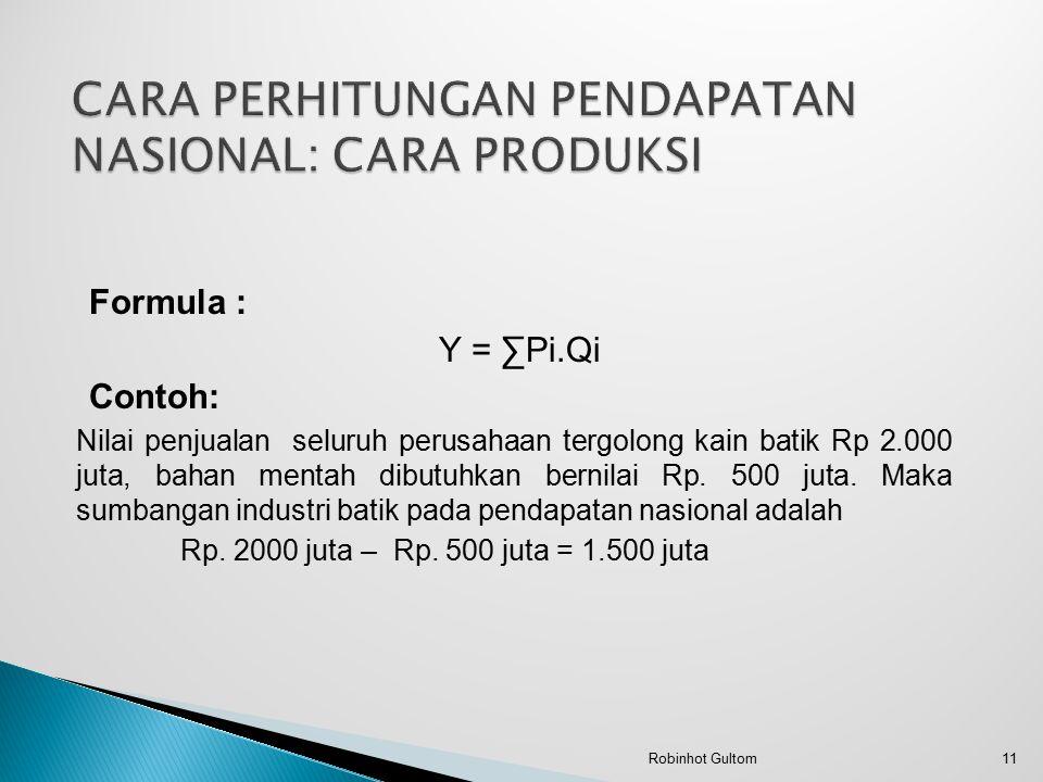 Formula : Y = ∑Pi.Qi Contoh: Nilai penjualan seluruh perusahaan tergolong kain batik Rp 2.000 juta, bahan mentah dibutuhkan bernilai Rp. 500 juta. Mak