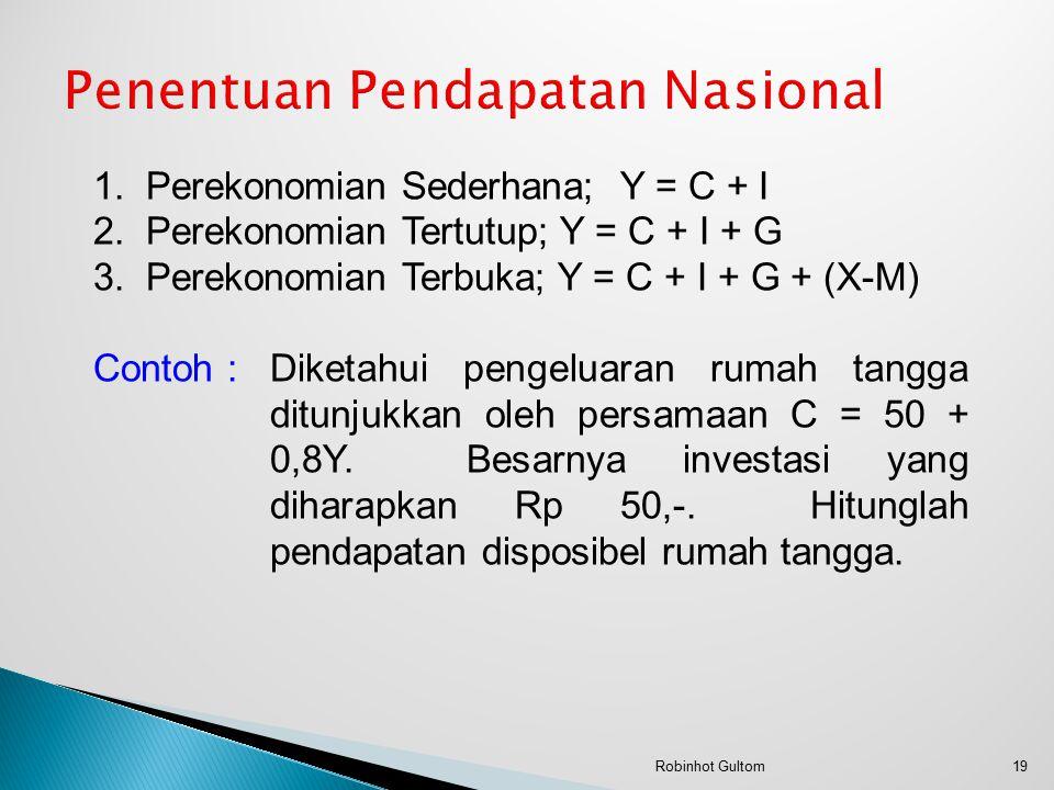 1.Perekonomian Sederhana; Y = C + I 2.Perekonomian Tertutup; Y = C + I + G 3.Perekonomian Terbuka; Y = C + I + G + (X-M) Contoh :Diketahui pengeluaran rumah tangga ditunjukkan oleh persamaan C = 50 + 0,8Y.
