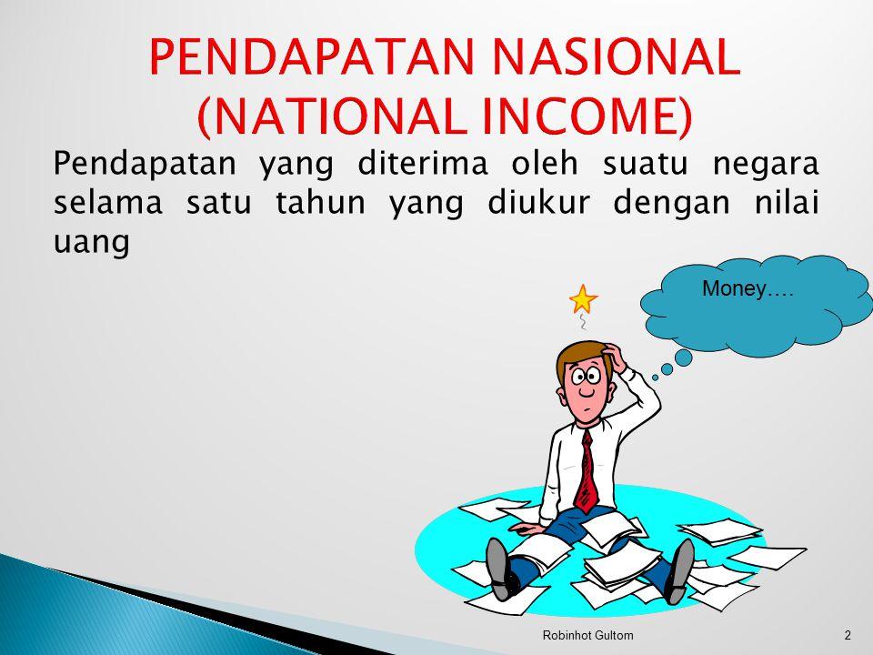 Pendapatan yang diterima oleh suatu negara selama satu tahun yang diukur dengan nilai uang Money….