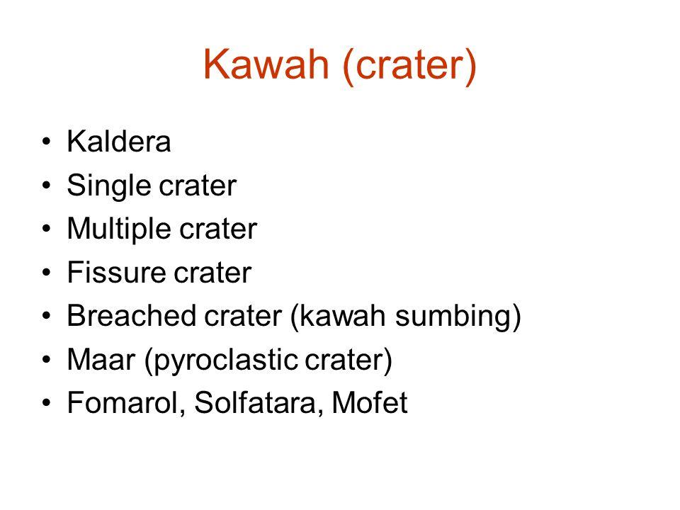 Kawah (crater) Kaldera Single crater Multiple crater Fissure crater Breached crater (kawah sumbing) Maar (pyroclastic crater) Fomarol, Solfatara, Mofe