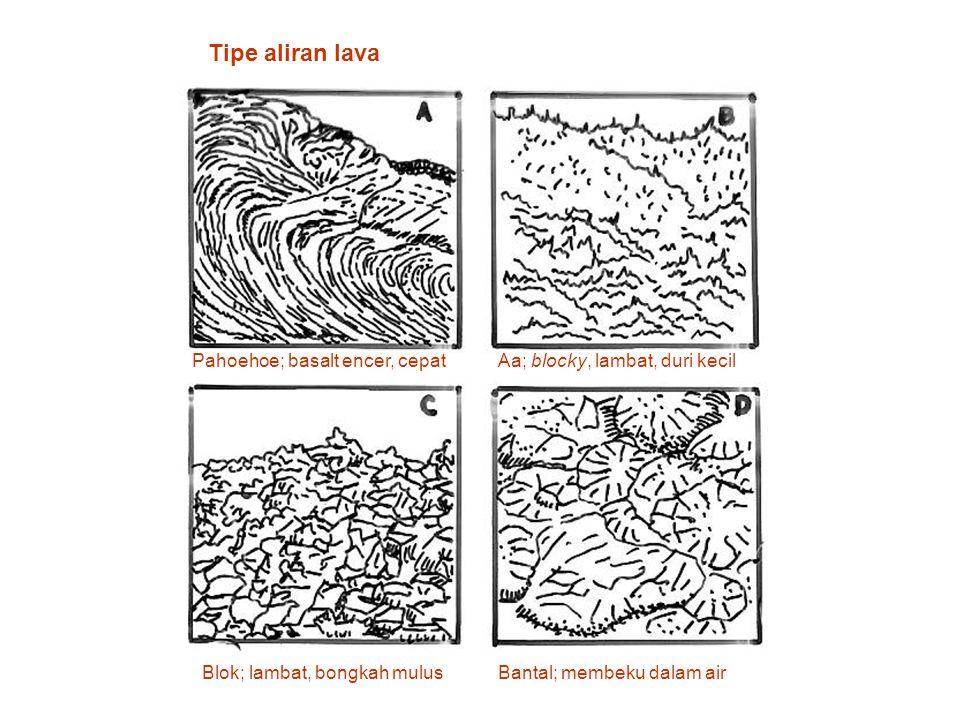 Tipe aliran lava Pahoehoe; basalt encer, cepatAa; blocky, lambat, duri kecil Blok; lambat, bongkah mulusBantal; membeku dalam air