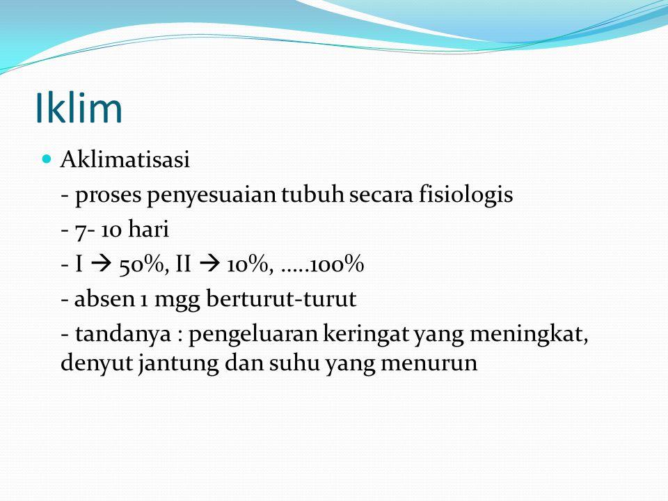 Iklim Aklimatisasi - proses penyesuaian tubuh secara fisiologis - 7- 10 hari - I  50%, II  10%, …..100% - absen 1 mgg berturut-turut - tandanya : pe