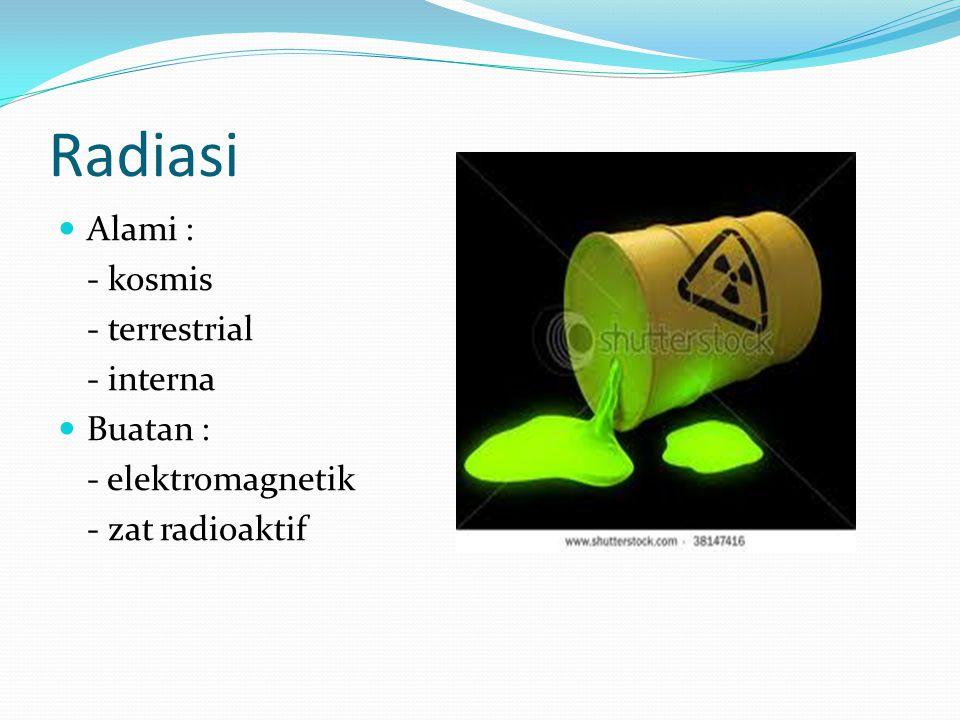 Radiasi Alami : - kosmis - terrestrial - interna Buatan : - elektromagnetik - zat radioaktif