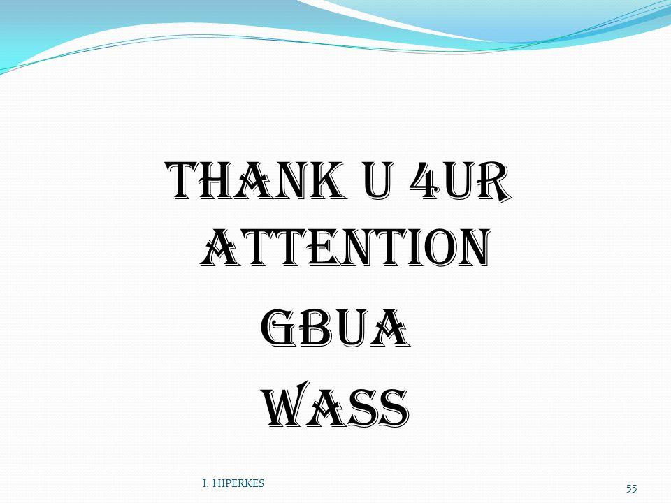THANK U 4UR ATTENTION GBUA wass I. HIPERKES 55