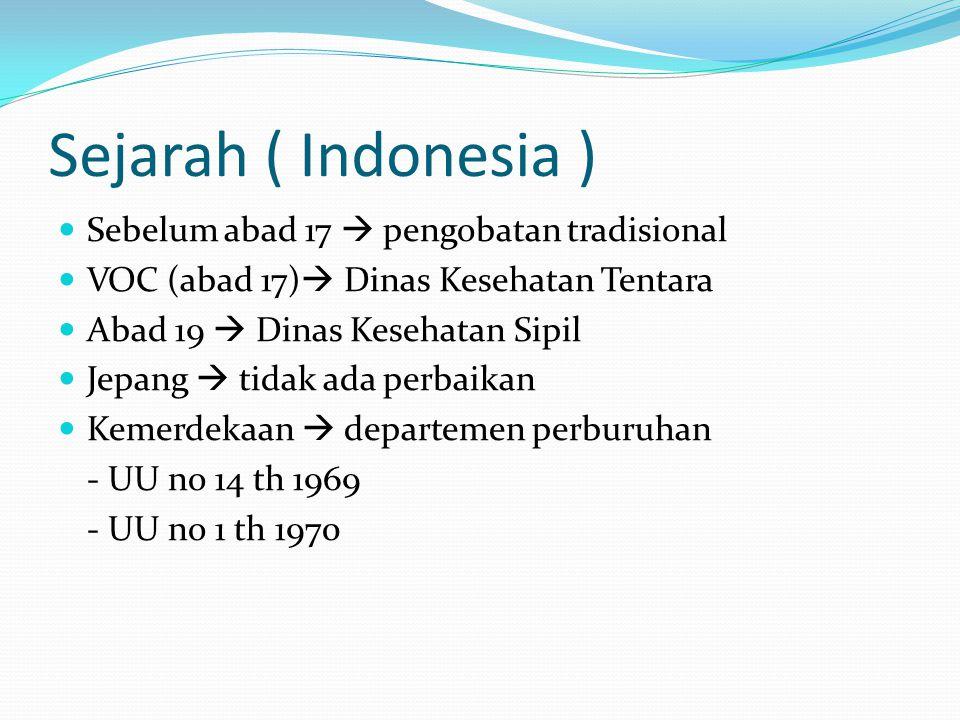 Sejarah ( Indonesia ) Sebelum abad 17  pengobatan tradisional VOC (abad 17)  Dinas Kesehatan Tentara Abad 19  Dinas Kesehatan Sipil Jepang  tidak