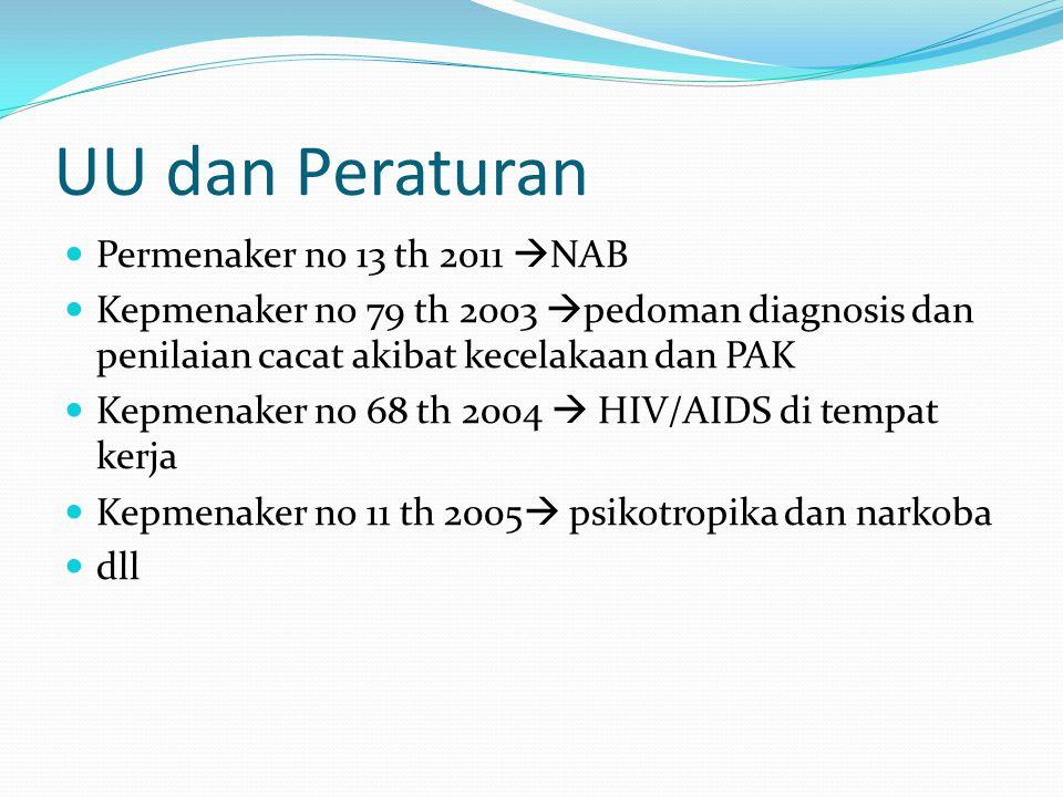 UU dan Peraturan Permenaker no 13 th 2011  NAB Kepmenaker no 79 th 2003  pedoman diagnosis dan penilaian cacat akibat kecelakaan dan PAK Kepmenaker