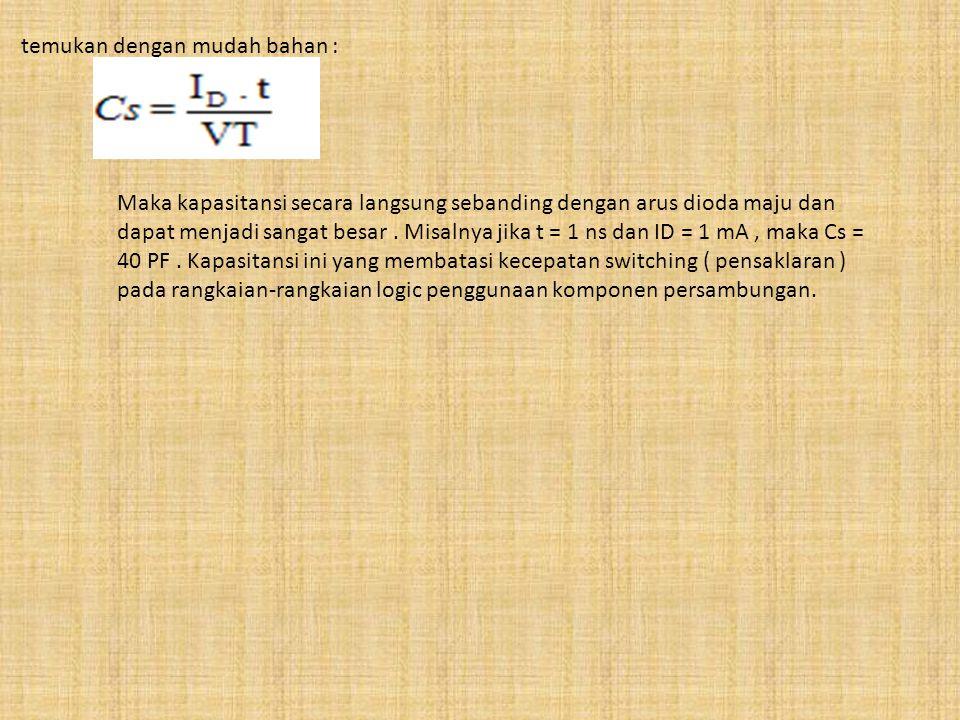 temukan dengan mudah bahan : Maka kapasitansi secara langsung sebanding dengan arus dioda maju dan dapat menjadi sangat besar. Misalnya jika t = 1 ns