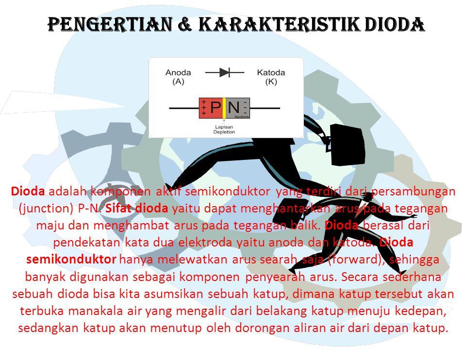 PENGERTIAN & KARAKTERISTIK DIODA Dioda adalah komponen aktif semikonduktor yang terdiri dari persambungan (junction) P-N. Sifat dioda yaitu dapat meng
