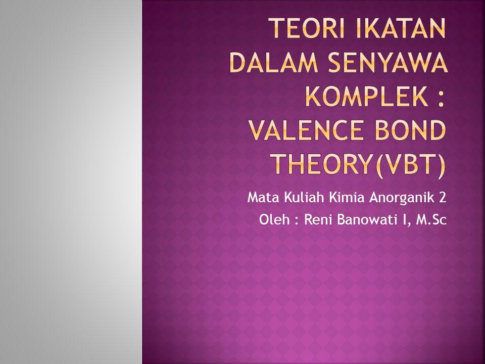 Linus Pauling (1931) Valence Bond Theory Ikatan pada senyawa komplek adalah ikatan kovalen koordinasi  ligan menyumbangkan PEB pada atom/ion pusat Atau jika ditinjau dari teori Asam Basa Lewis : ikatan pada senyawa komplek adalah merupakan hasil reaksi asam (atom/ion pusat) dan basa (ligan)