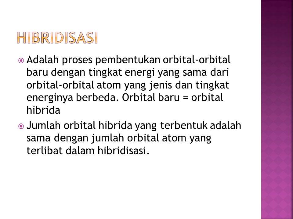  Adalah proses pembentukan orbital-orbital baru dengan tingkat energi yang sama dari orbital-orbital atom yang jenis dan tingkat energinya berbeda. O