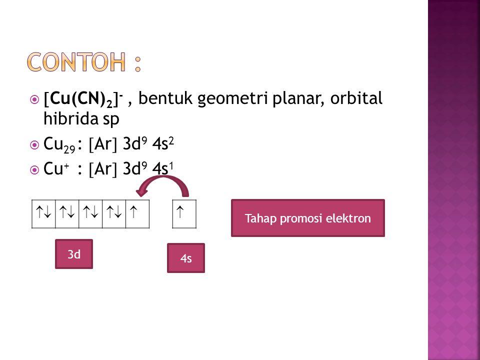 3d4s 4p Tahap hibridisasi  3dOrbital hibrida sp Tahap overlap dengan ligan kosong Terisi sepasang elektron dari ligan CN - Karena semua elektronnya berpasangan maka senyawa komplek tersebut bersifat DIAMAGNETIK (tidak dapat ditarik oleh magnet)