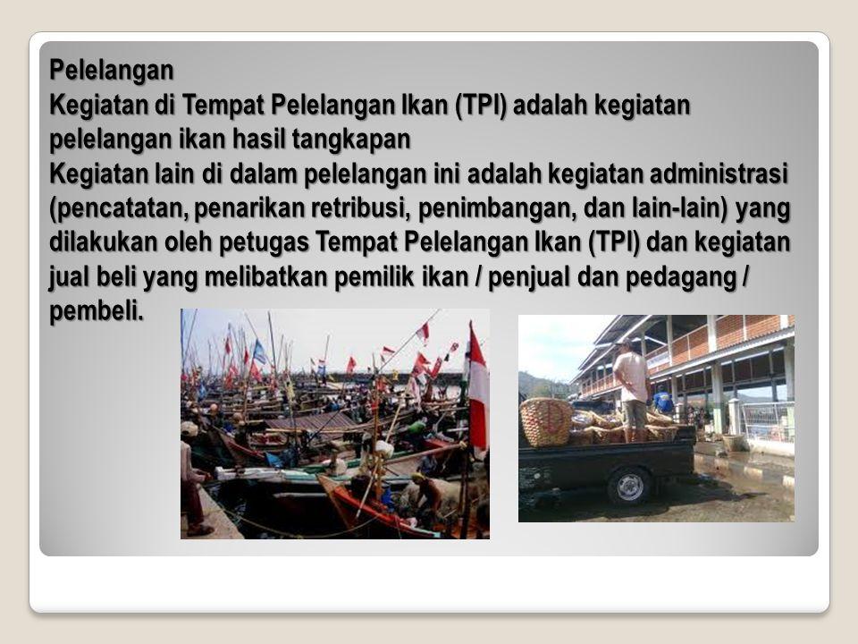 Pelelangan Kegiatan di Tempat Pelelangan Ikan (TPI) adalah kegiatan pelelangan ikan hasil tangkapan Kegiatan lain di dalam pelelangan ini adalah kegia