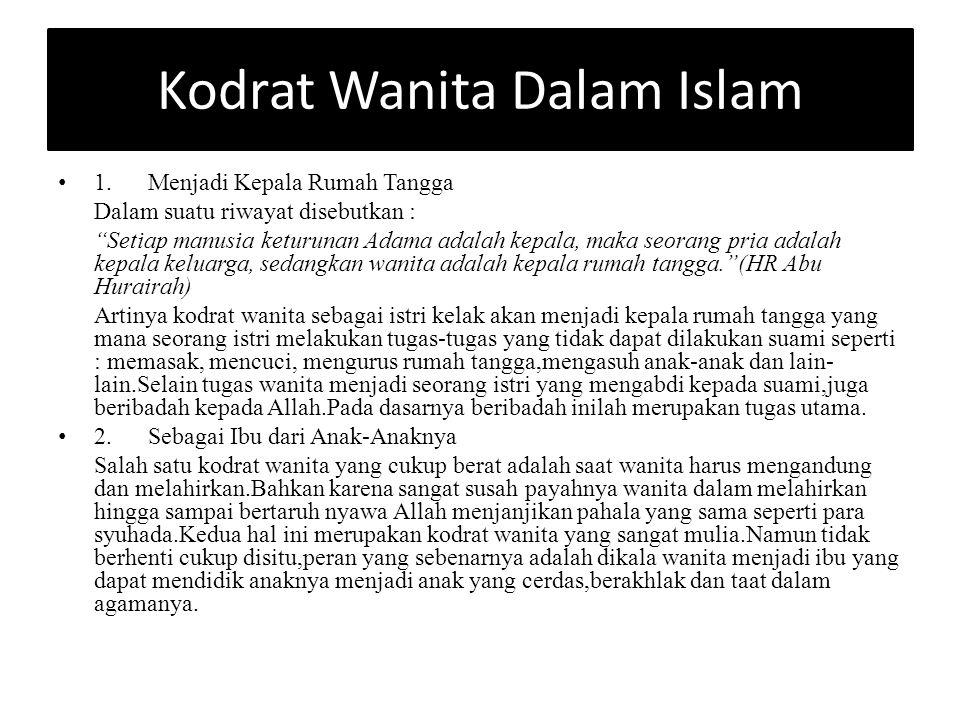 Kodrat Wanita Dalam Islam 1.