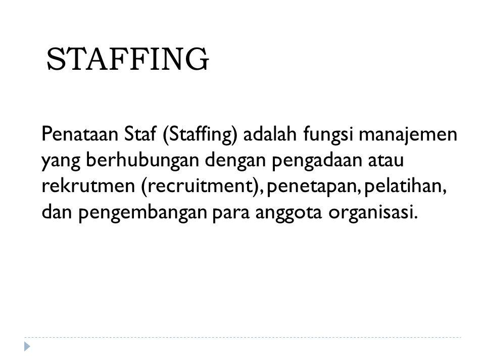 STAFFING Penataan Staf (Staffing) adalah fungsi manajemen yang berhubungan dengan pengadaan atau rekrutmen (recruitment), penetapan, pelatihan, dan pe