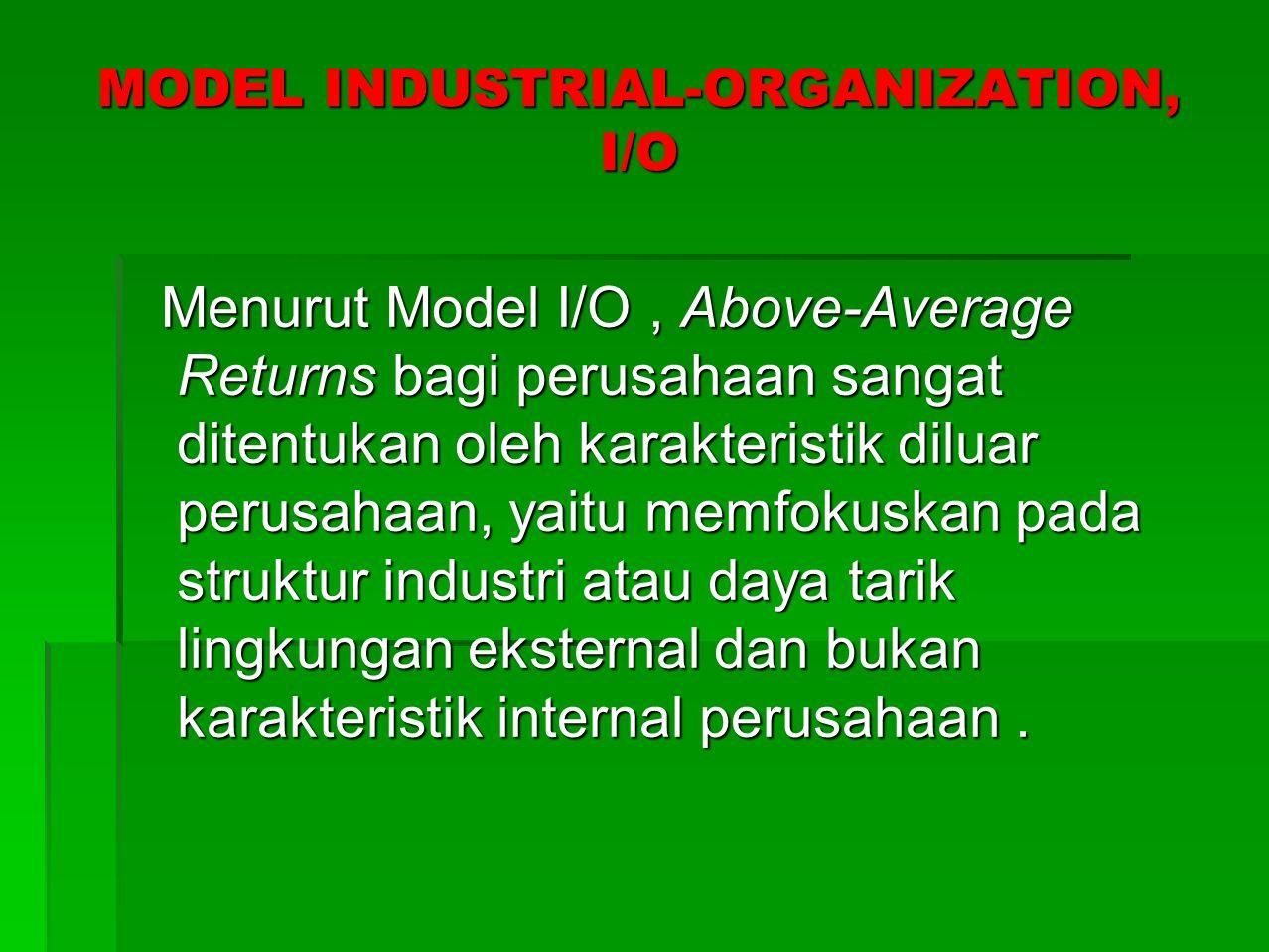 TAHAPAN MODEL INDUSTRIAL- ORGANIZATION, I/O UNTUK MENDAPATKAN Above-Average Returns  Pelajari lingkungn Ekternal terutama lingkungan umum, industri dan kompetitif.
