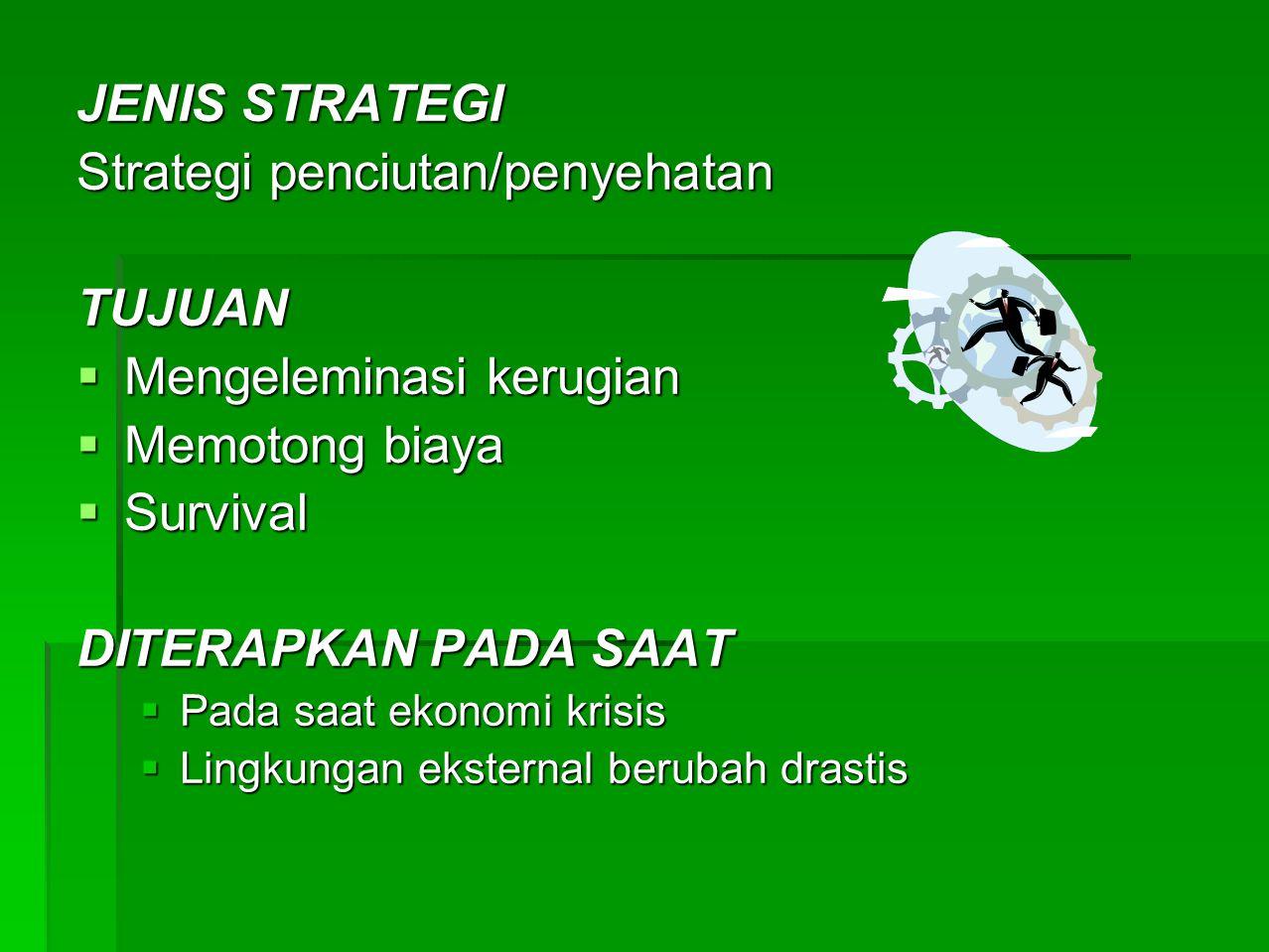 JENIS STRATEGI Strategi Kombinasi TUJUAN  Meningkatkan pendapatan  Mengeleminasi kerugian dan biaya DITERAPKAN PADA SAAT  Pada saat terjadi transisi ekonomi  Perusahaan multiproduk, multi divisi, atau portopolio bisnis