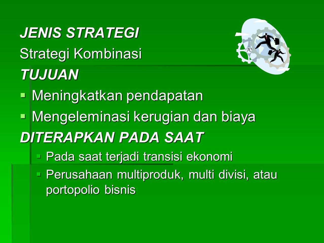 JENIS-JENIS STRATEGI PERTUMBUHAN / EKSPANSI  STRATEGI PERTUMBUHAN KONSENTRASI  STRATEGI INTEGRASI VERTIKAL  STRATEGI DIVERSIFIKASI  STARTEGI INTERNAL & EKSTERNAL