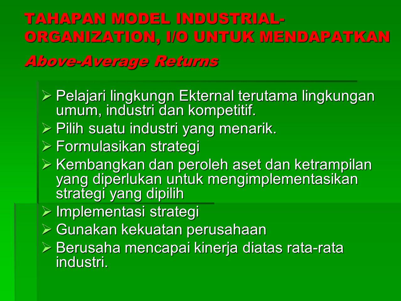 MODEL RESOURCE-BASED VIEW, RBV Menurut Model RBV, Above-Average Returns bagi perusahaan sangat ditentukan oleh karakteristik didalam perusahaan, yaitu memfokuskan pada pengembangan atau perolehan sumber daya (resources) dan kapabilitas (capabilities) yang berharga, yang sulit atau tak mungkin ditiru oleh para pesaing.