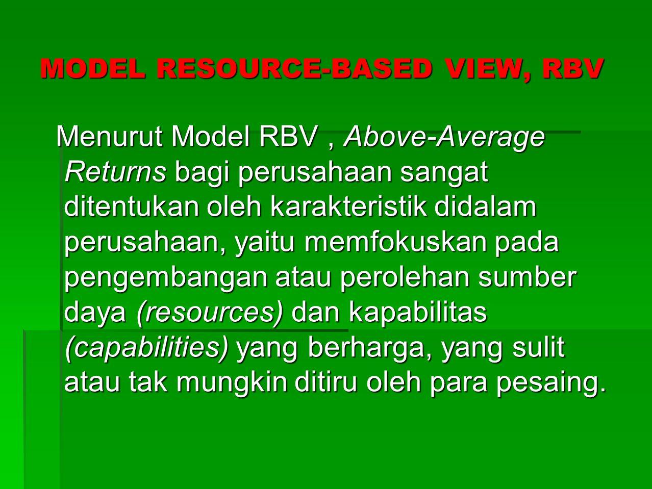 TAHAPAN MODEL RESOURCES-BASED VIEV, RBV UNTUK MENDAPATKAN Above-Average Returns  Mengidentifikasi sumber daya perusahaan.