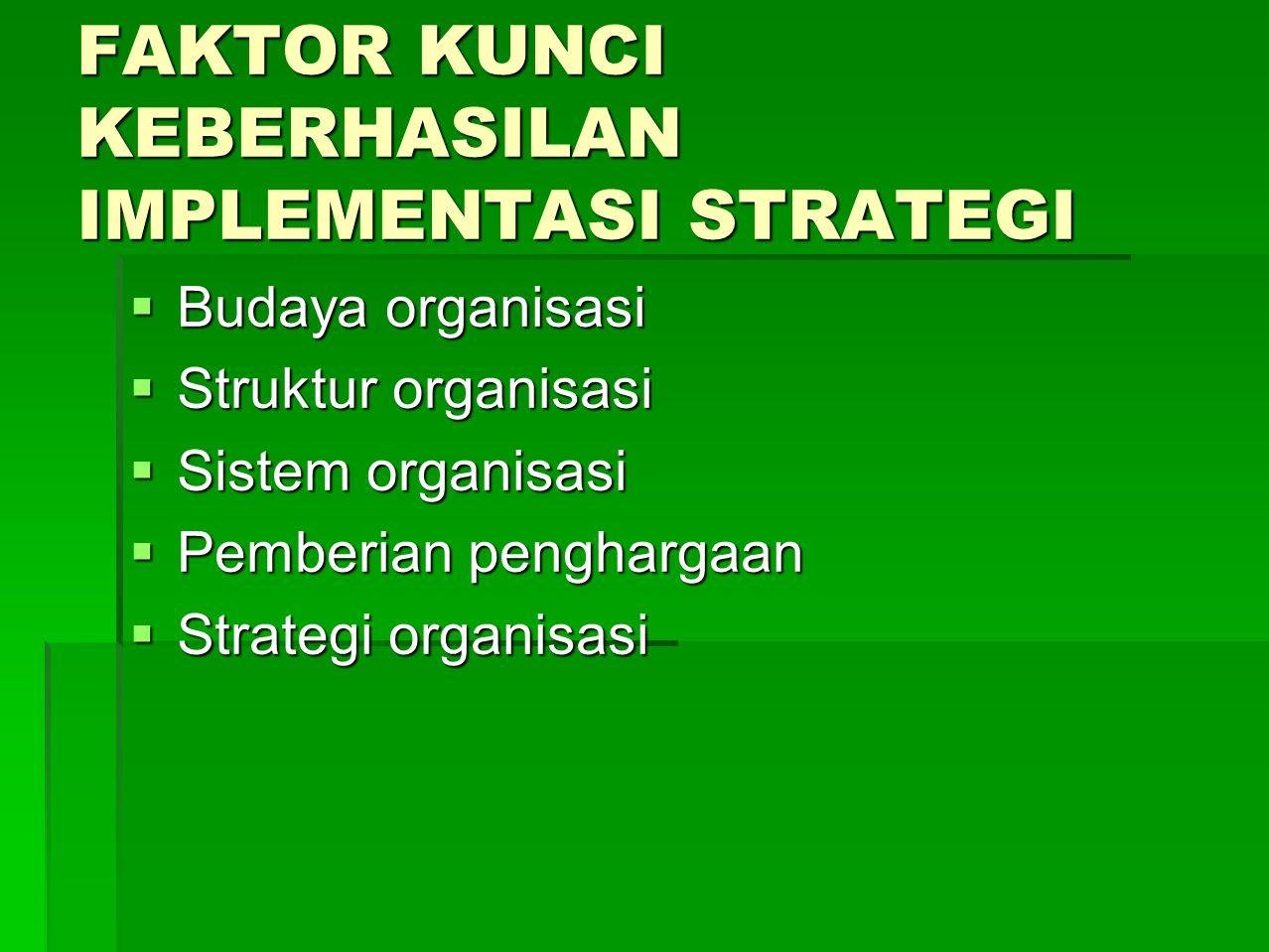 FAKTOR KUNCI KEBERHASILAN IMPLEMENTASI STRATEGI  Budaya organisasi  Struktur organisasi  Sistem organisasi  Pemberian penghargaan  Strategi organ