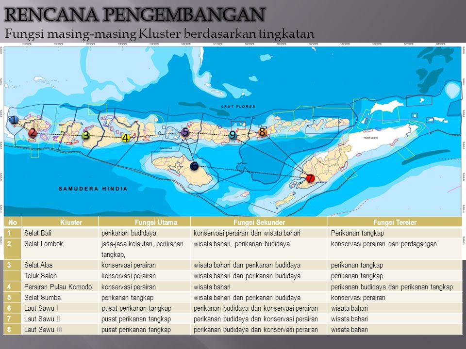 NoKlusterFungsi UtamaFungsi SekunderFungsi Tersier 1 Selat Baliperikanan budidayakonservasi perairan dan wisata bahariPerikanan tangkap 2 Selat Lombok