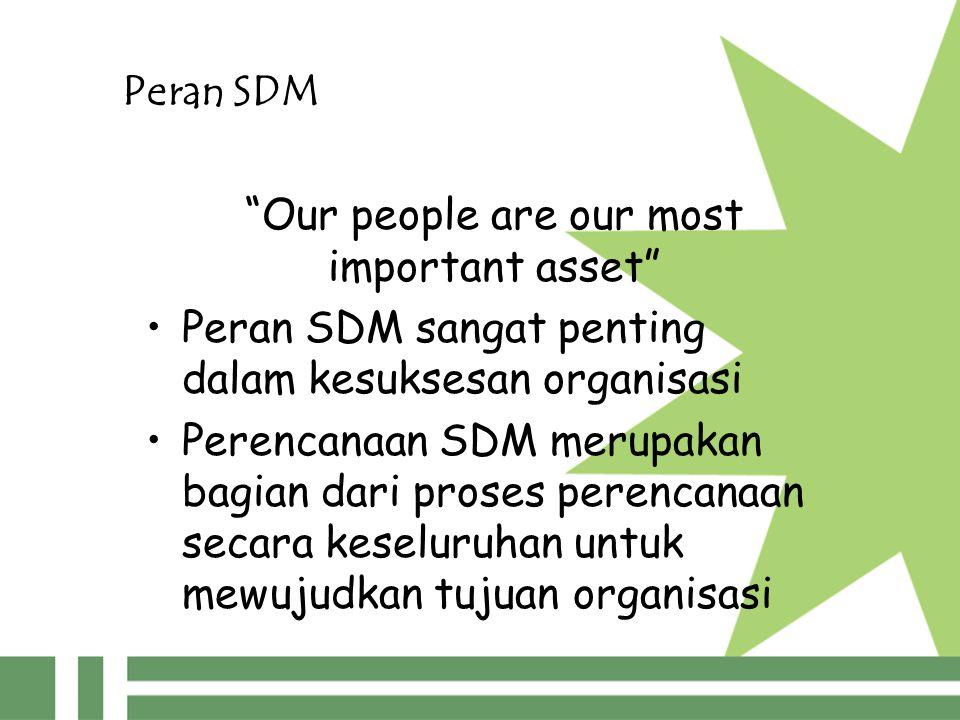 Peran SDM Our people are our most important asset Peran SDM sangat penting dalam kesuksesan organisasi Perencanaan SDM merupakan bagian dari proses perencanaan secara keseluruhan untuk mewujudkan tujuan organisasi