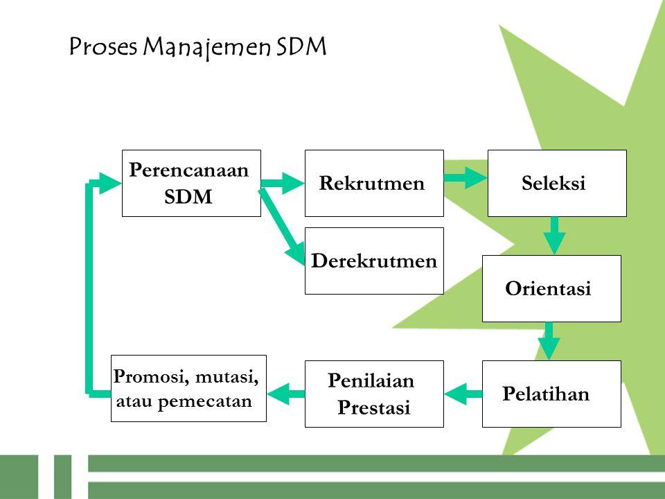Proses Manajemen SDM Perencanaan SDM Rekrutmen Pelatihan Seleksi Orientasi Penilaian Prestasi Promosi, mutasi, atau pemecatan Derekrutmen