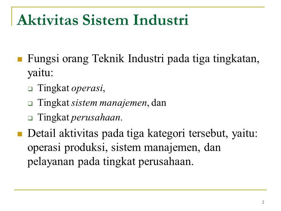 5 Aktivitas Sistem Industri Fungsi orang Teknik Industri pada tiga tingkatan, yaitu:  Tingkat operasi,  Tingkat sistem manajemen, dan  Tingkat peru