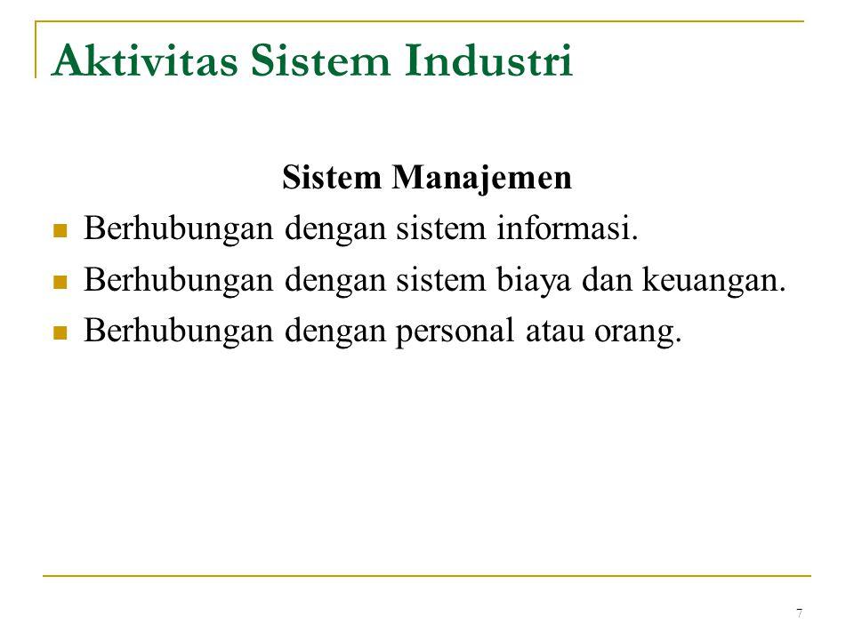 7 Sistem Manajemen Berhubungan dengan sistem informasi. Berhubungan dengan sistem biaya dan keuangan. Berhubungan dengan personal atau orang. Aktivita