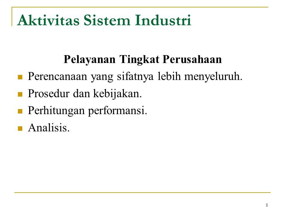 8 Pelayanan Tingkat Perusahaan Perencanaan yang sifatnya lebih menyeluruh. Prosedur dan kebijakan. Perhitungan performansi. Analisis. Aktivitas Sistem