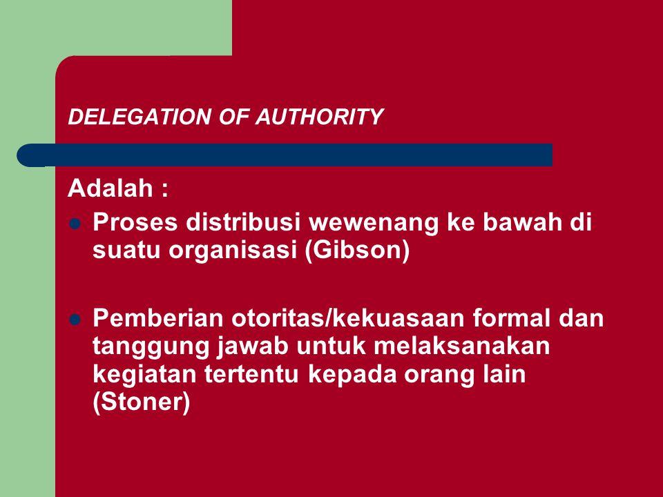 DELEGATION OF AUTHORITY Adalah : Proses distribusi wewenang ke bawah di suatu organisasi (Gibson) Pemberian otoritas/kekuasaan formal dan tanggung jawab untuk melaksanakan kegiatan tertentu kepada orang lain (Stoner)