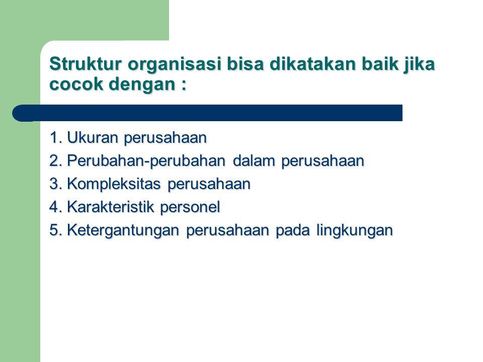 Struktur organisasi bisa dikatakan baik jika cocok dengan : 1.