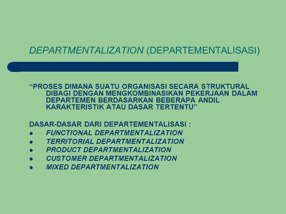 DEPARTMENTALIZATION (DEPARTEMENTALISASI) PROSES DIMANA SUATU ORGANISASI SECARA STRUKTURAL DIBAGI DENGAN MENGKOMBINASIKAN PEKERJAAN DALAM DEPARTEMEN BERDASARKAN BEBERAPA ANDIL KARAKTERISTIK ATAU DASAR TERTENTU DASAR-DASAR DARI DEPARTEMENTALISASI : FUNCTIONAL DEPARTMENTALIZATION TERRITORIAL DEPARTMENTALIZATION PRODUCT DEPARTMENTALIZATION CUSTOMER DEPARTMENTALIZATION MIXED DEPARTMENTALIZATION