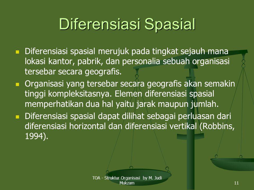 Diferensiasi Spasial Diferensiasi spasial merujuk pada tingkat sejauh mana lokasi kantor, pabrik, dan personalia sebuah organisasi tersebar secara geo