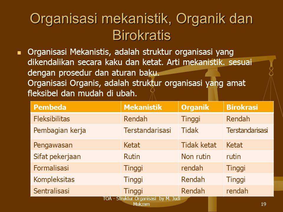 Organisasi mekanistik, Organik dan Birokratis Organisasi Mekanistis, adalah struktur organisasi yang dikendalikan secara kaku dan ketat. Arti mekanist