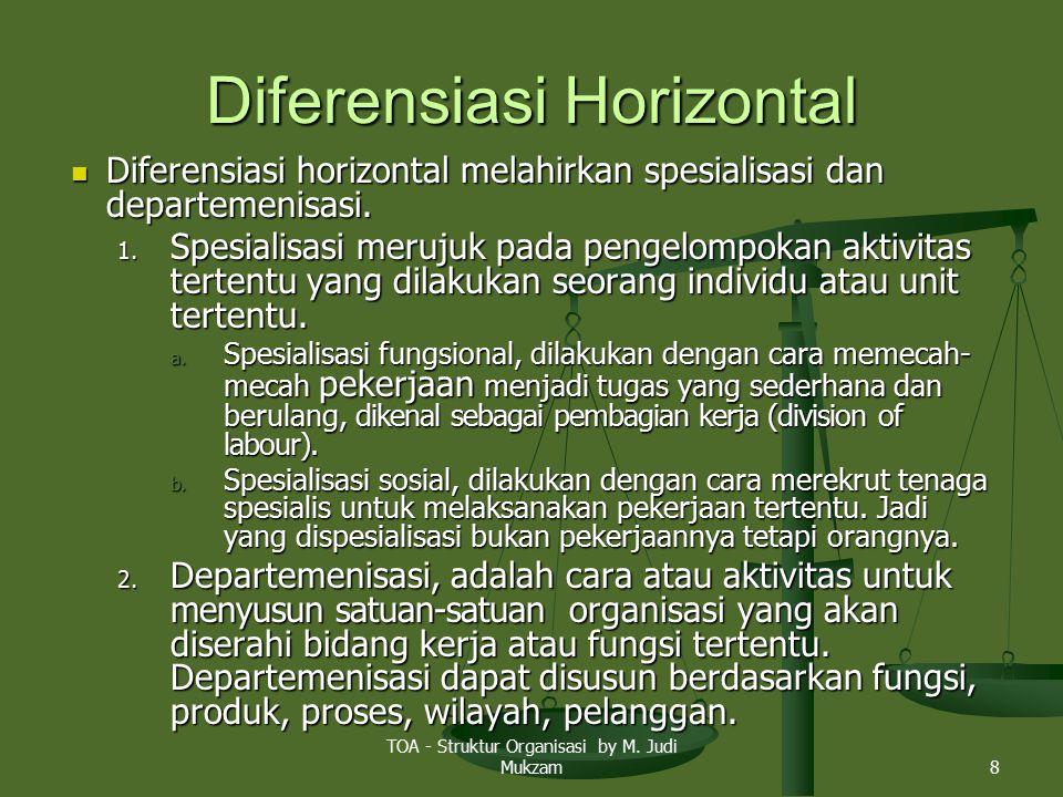 Diferensiasi Horizontal Diferensiasi horizontal melahirkan spesialisasi dan departemenisasi. Diferensiasi horizontal melahirkan spesialisasi dan depar