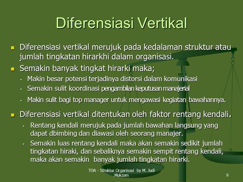 Diferensiasi Vertikal Diferensiasi vertikal merujuk pada kedalaman struktur atau jumlah tingkatan hirarkhi dalam organisasi. Diferensiasi vertikal mer