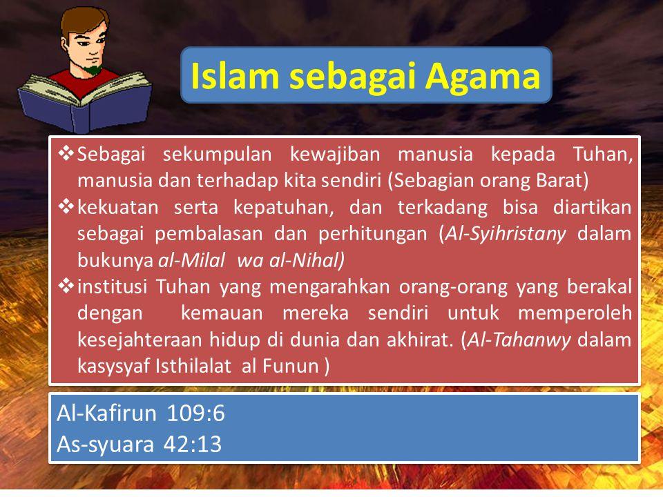 Islam sebagai Agama  Sebagai sekumpulan kewajiban manusia kepada Tuhan, manusia dan terhadap kita sendiri (Sebagian orang Barat)  kekuatan serta kepatuhan, dan terkadang bisa diartikan sebagai pembalasan dan perhitungan (Al-Syihristany dalam bukunya al-Milal wa al-Nihal)  institusi Tuhan yang mengarahkan orang-orang yang berakal dengan kemauan mereka sendiri untuk memperoleh kesejahteraan hidup di dunia dan akhirat.