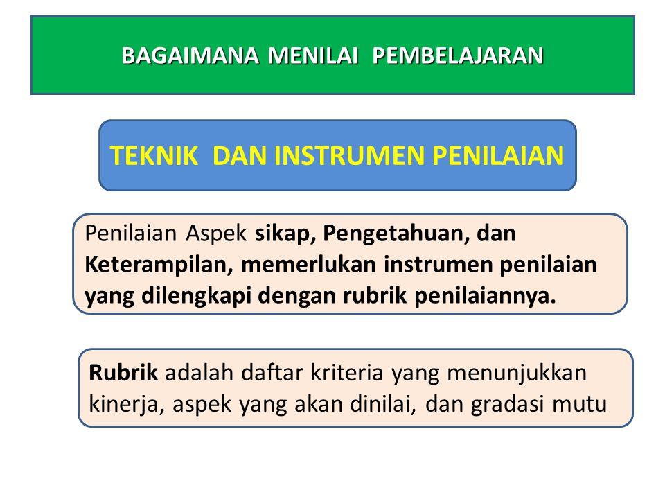 TEKNIK DAN INSTRUMEN PENILAIAN Penilaian Aspek sikap, Pengetahuan, dan Keterampilan, memerlukan instrumen penilaian yang dilengkapi dengan rubrik penilaiannya.