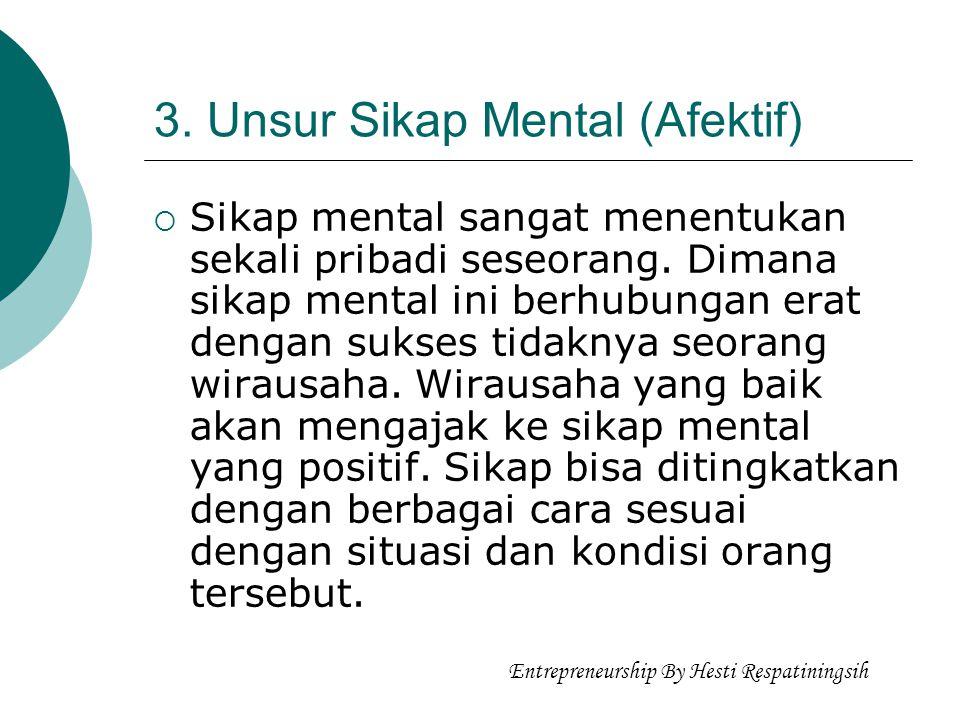 3. Unsur Sikap Mental (Afektif)  Sikap mental sangat menentukan sekali pribadi seseorang. Dimana sikap mental ini berhubungan erat dengan sukses tida