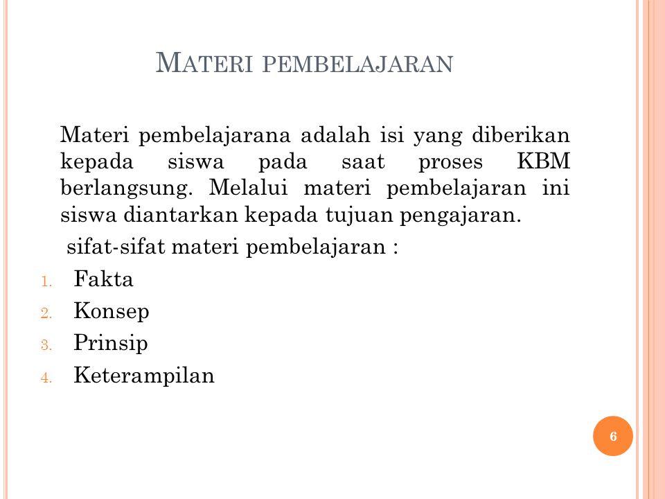 M ATERI PEMBELAJARAN Materi pembelajarana adalah isi yang diberikan kepada siswa pada saat proses KBM berlangsung. Melalui materi pembelajaran ini sis