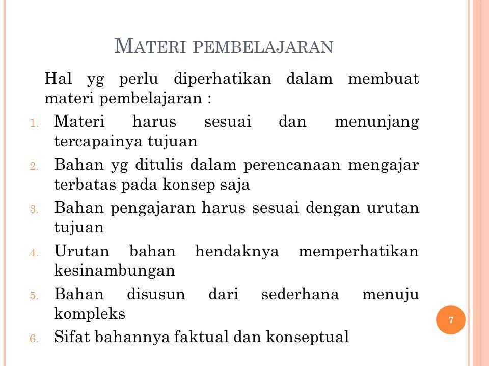 M ATERI PEMBELAJARAN Hal yg perlu diperhatikan dalam membuat materi pembelajaran : 1. Materi harus sesuai dan menunjang tercapainya tujuan 2. Bahan yg