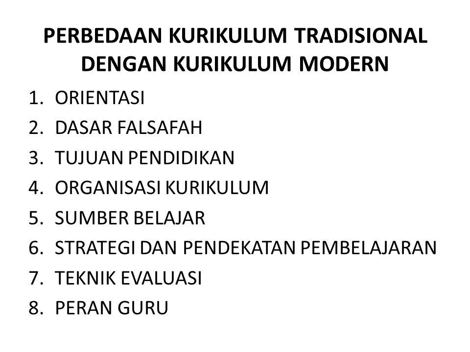 PERBEDAAN KURIKULUM TRADISIONAL DENGAN KURIKULUM MODERN 1.ORIENTASI 2.DASAR FALSAFAH 3.TUJUAN PENDIDIKAN 4.ORGANISASI KURIKULUM 5.SUMBER BELAJAR 6.STRATEGI DAN PENDEKATAN PEMBELAJARAN 7.TEKNIK EVALUASI 8.PERAN GURU
