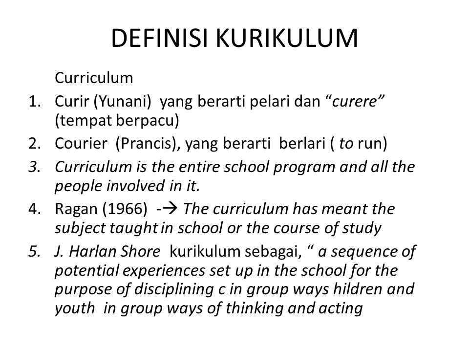 DEFINISI KURIKULUM Curriculum 1.Curir (Yunani) yang berarti pelari dan curere (tempat berpacu) 2.Courier (Prancis), yang berarti berlari ( to run) 3.Curriculum is the entire school program and all the people involved in it.