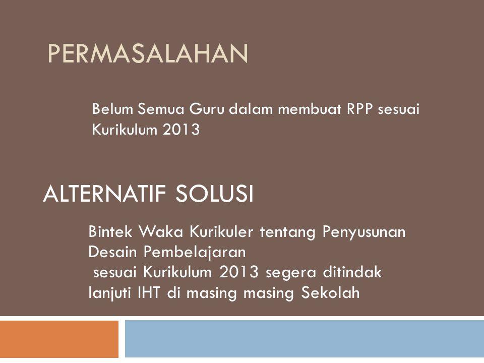 PERMASALAHAN Belum Semua Guru dalam membuat RPP sesuai Kurikulum 2013 ALTERNATIF SOLUSI Bintek Waka Kurikuler tentang Penyusunan Desain Pembelajaran s