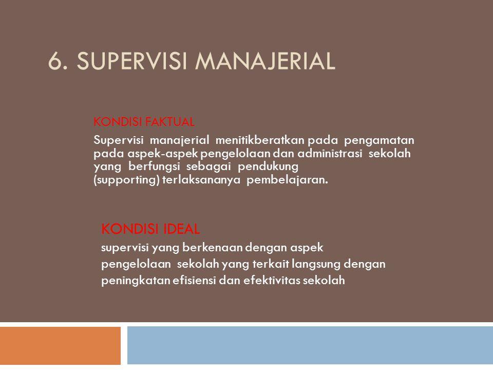 6. SUPERVISI MANAJERIAL KONDISI FAKTUAL Supervisi manajerial menitikberatkan pada pengamatan pada aspek-aspek pengelolaan dan administrasi sekolah yan