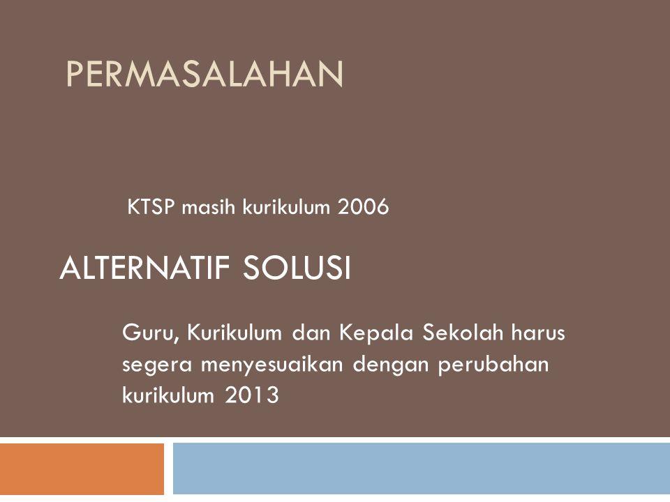 PERMASALAHAN KTSP masih kurikulum 2006 ALTERNATIF SOLUSI Guru, Kurikulum dan Kepala Sekolah harus segera menyesuaikan dengan perubahan kurikulum 2013