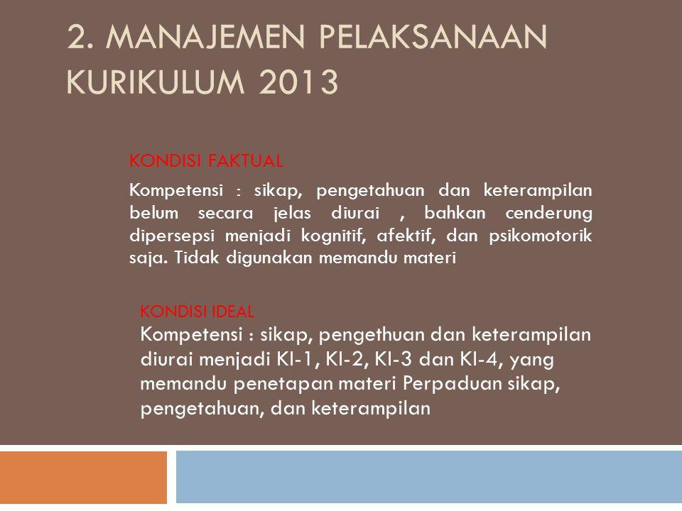 2. MANAJEMEN PELAKSANAAN KURIKULUM 2013 KONDISI FAKTUAL Kompetensi : sikap, pengetahuan dan keterampilan belum secara jelas diurai, bahkan cenderung d