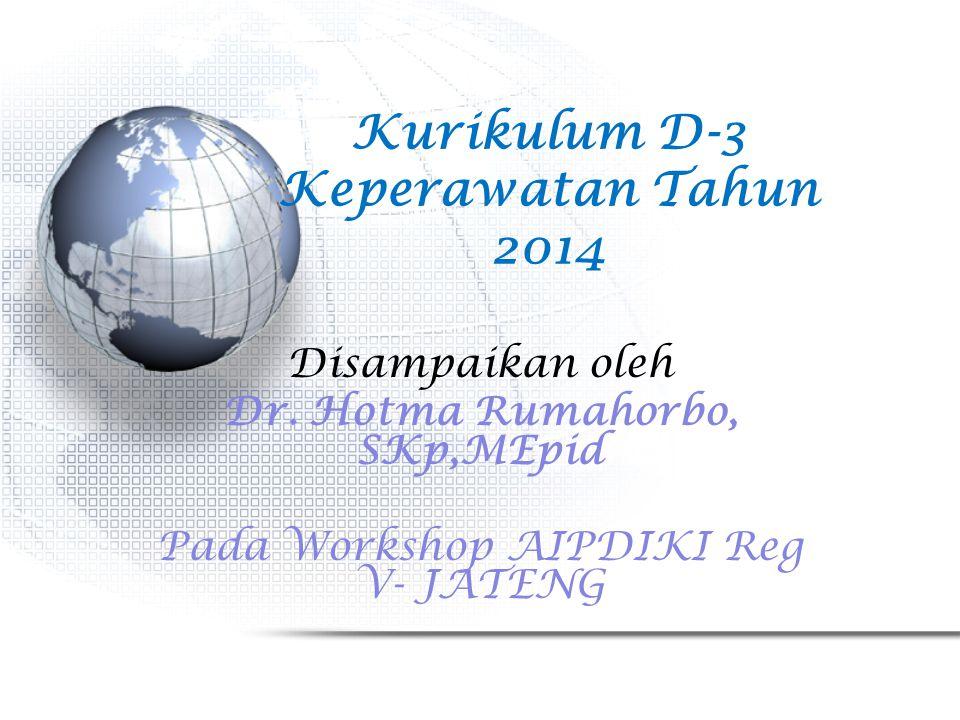 Kurikulum D-3 Keperawatan Tahun 2014 Disampaikan oleh Dr. Hotma Rumahorbo, SKp,MEpid Pada Workshop AIPDIKI Reg V- JATENG